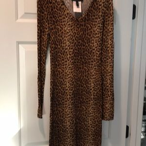 Leopard print knit dress